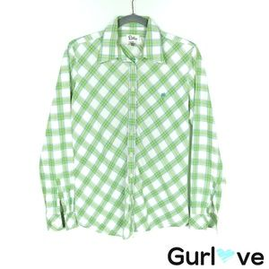 Lilly Pulitzer Green Plaid Button Shirt Size 10